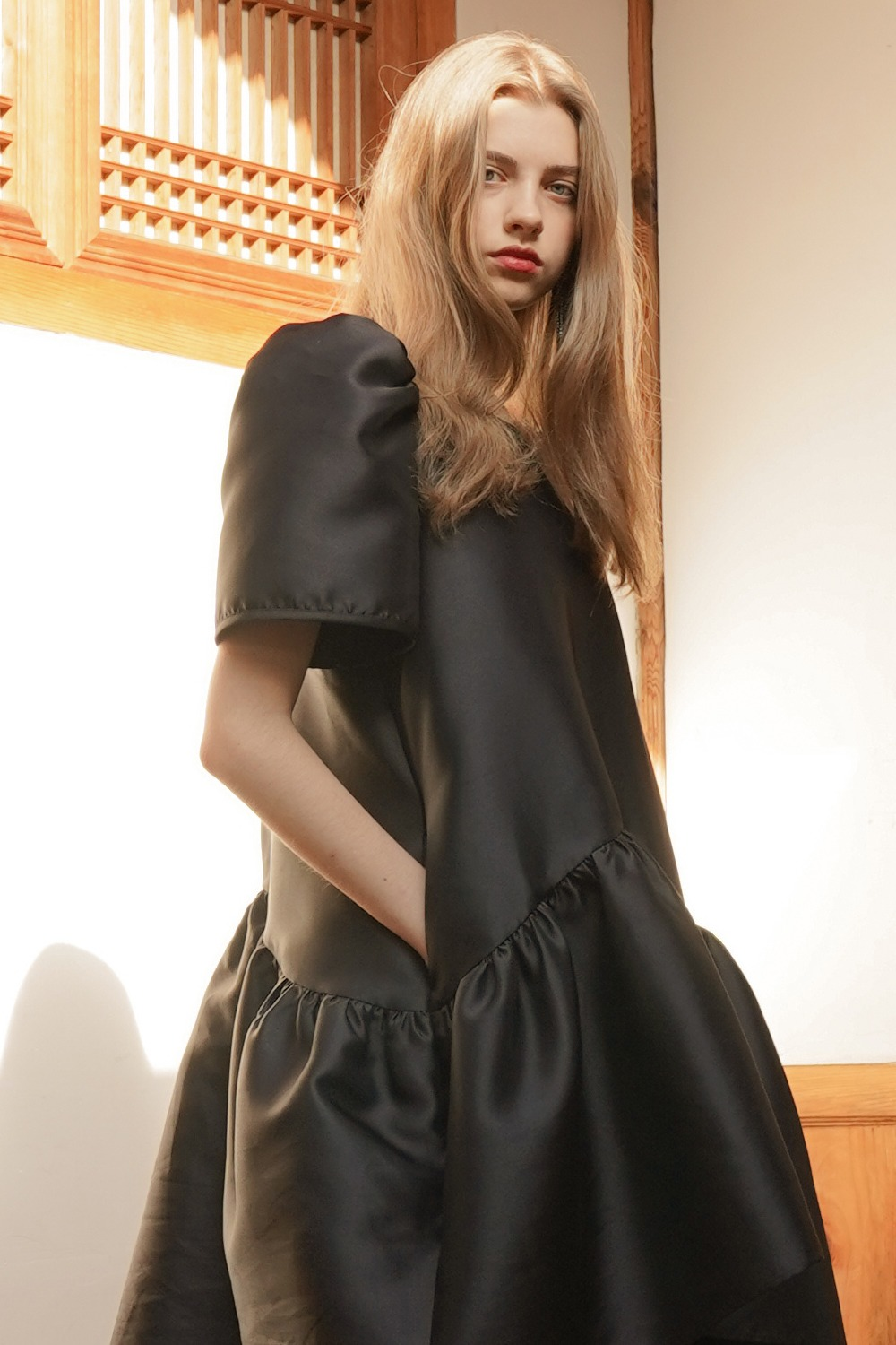 Tiered high-low taffeta dress in Black