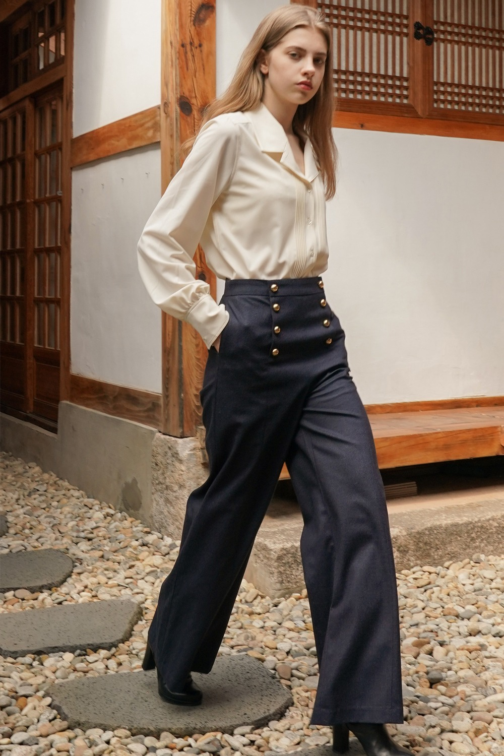 Gold button sailor wide pants in melange navy