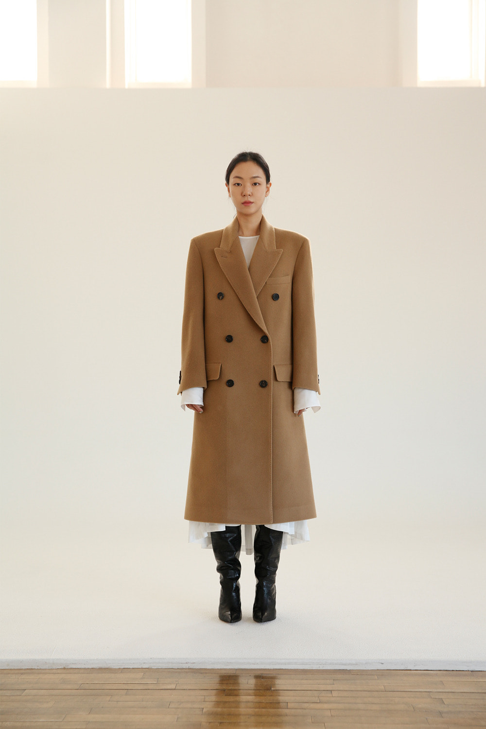 classic double breasted camel long coat