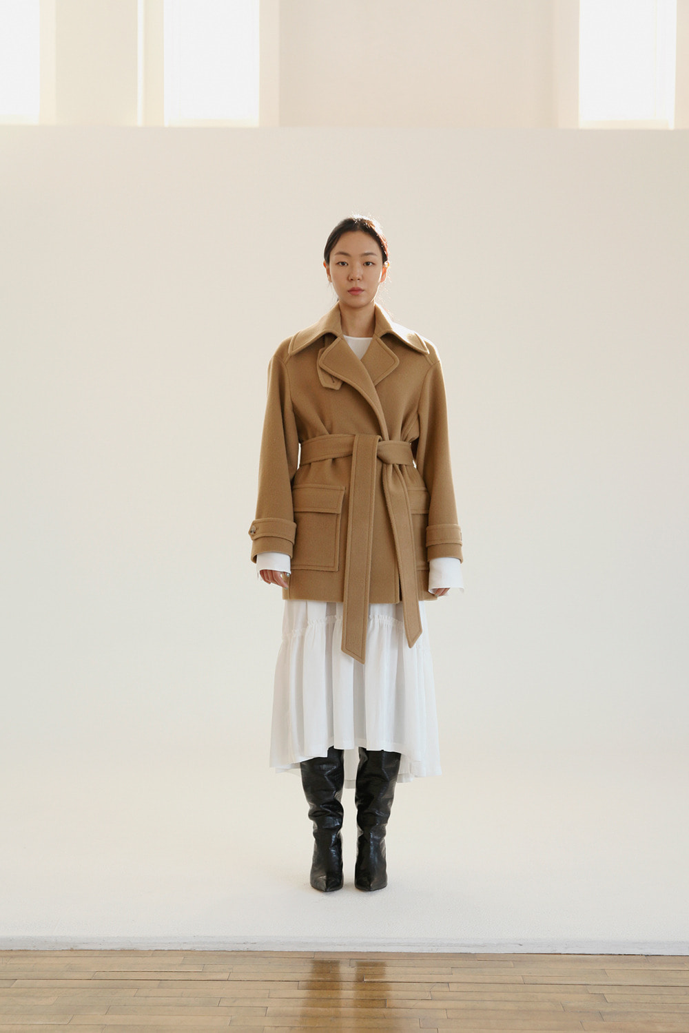 belted camel over fit coat