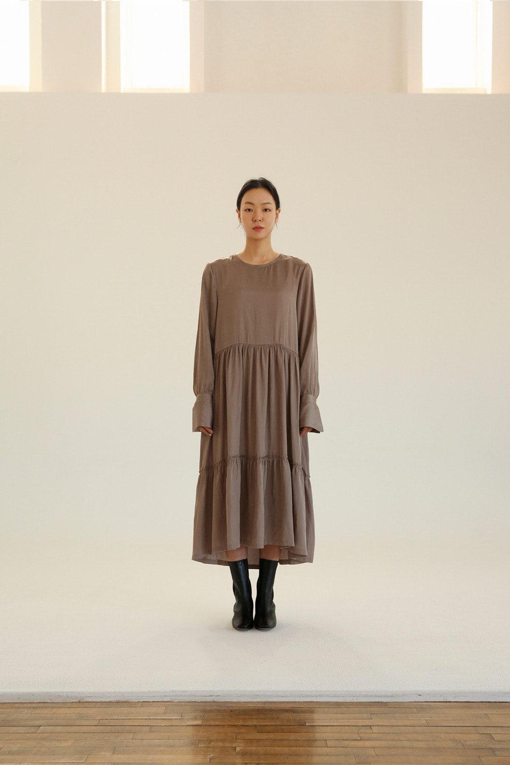 raw edge tiered silky long dress in taupe