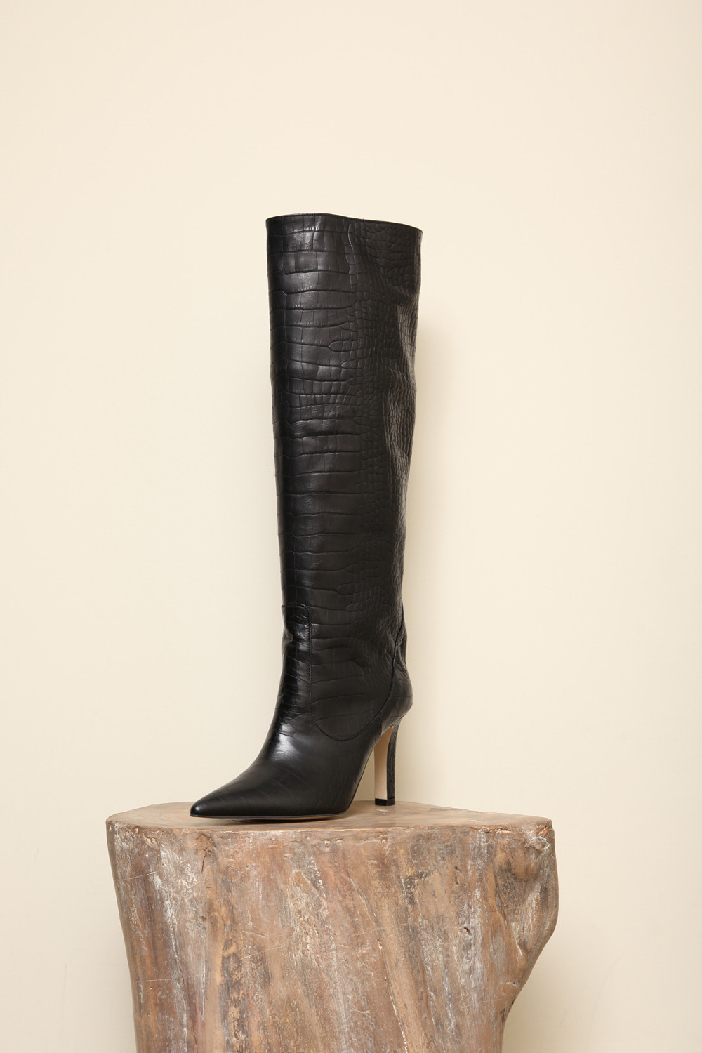 alligator-patterned leather slouchy long boots