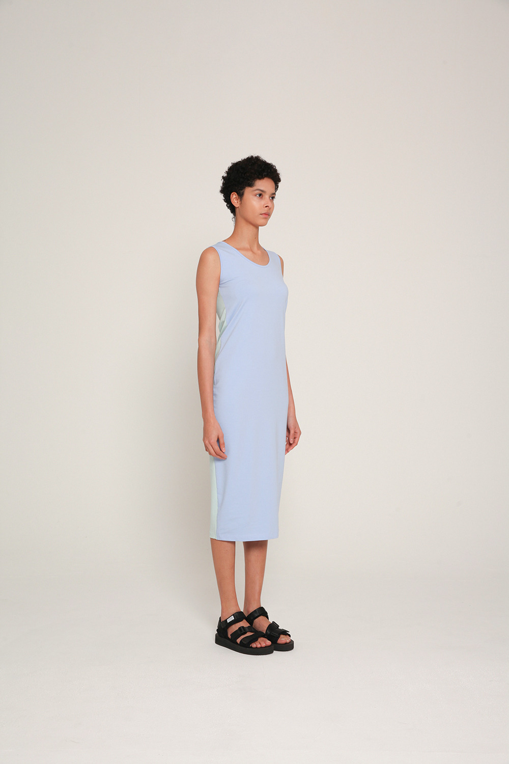 color blocking cotton strech sleeveless dress in Skyblue and Mint