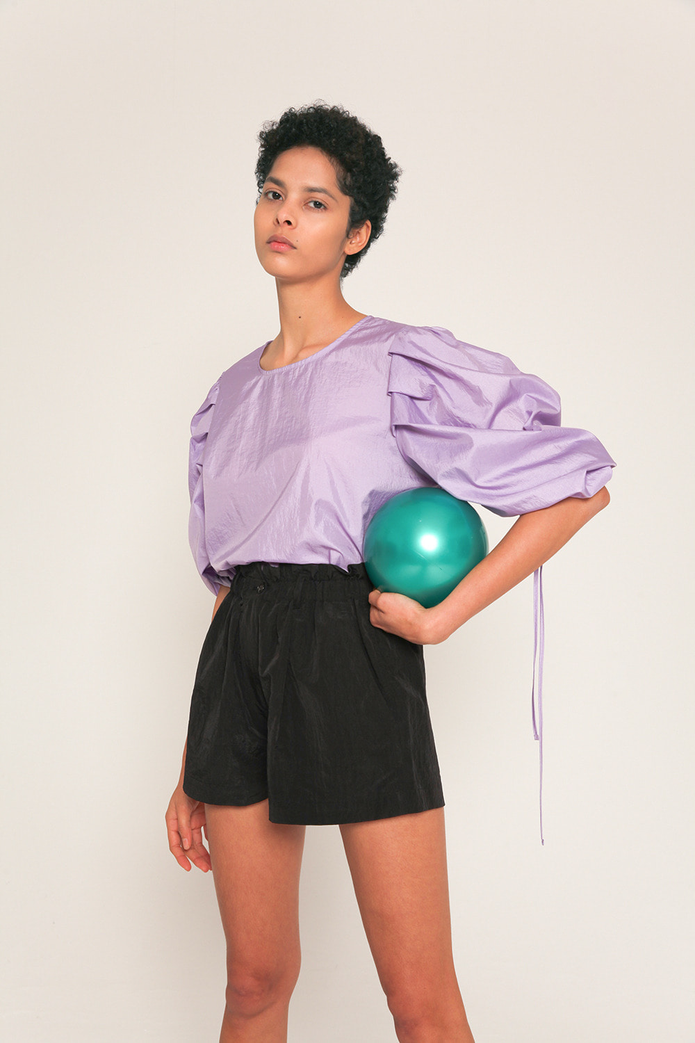 volume sleeves with drawstring technical shell blouse in Lilac