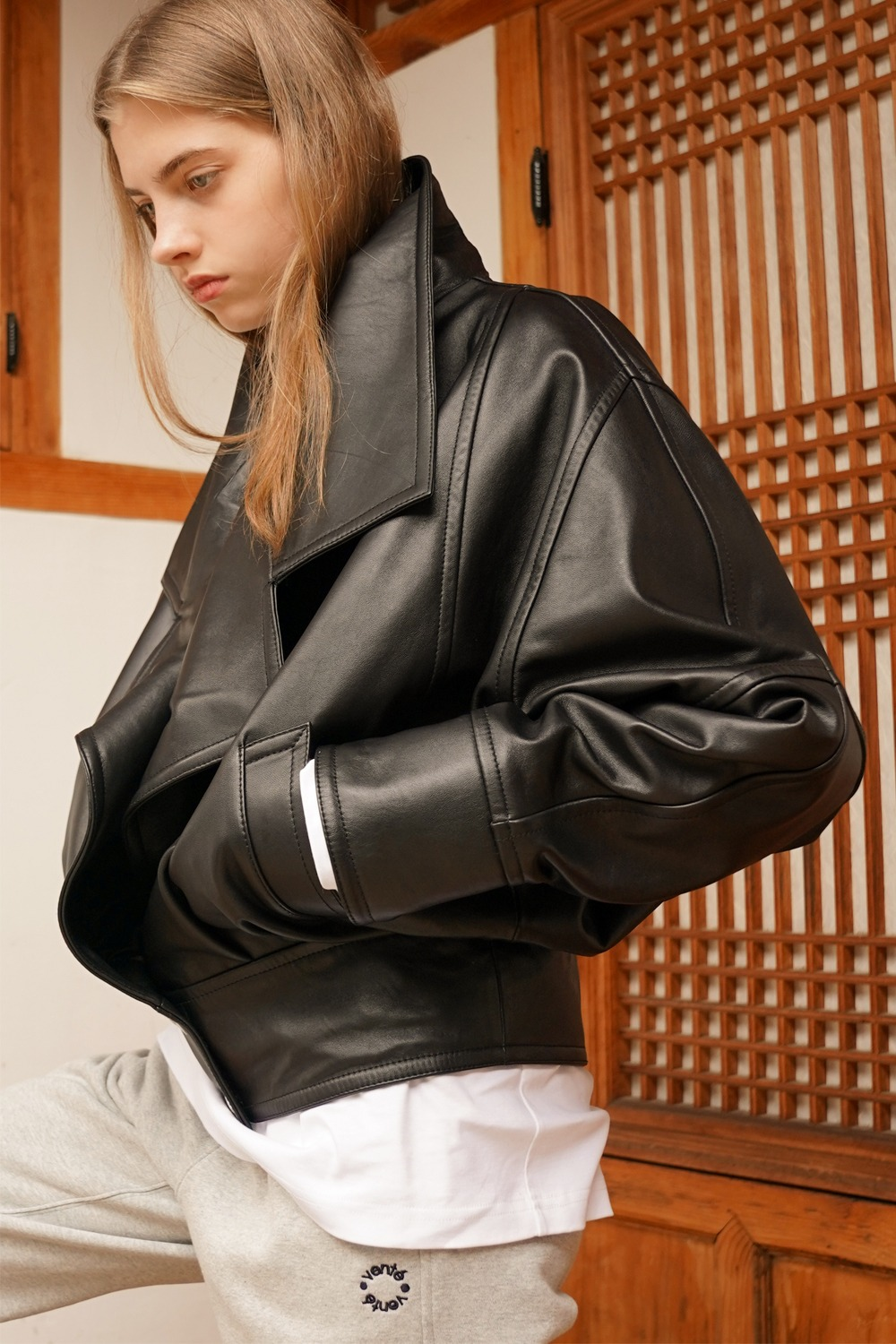 Lambskin oversized leather jacket